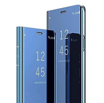 AOBOK para Xiaomi Redmi 7 Funda, Espejo Mirror Flip Carcasa Protector Shock Absorbing Caso Duro para Xiaomi Redmi 7 Smartphone, Azul