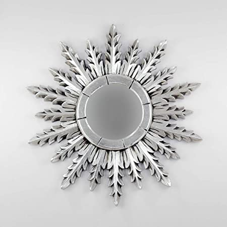 Envejecida Rococo Espejo Decorativo Tipo Sol de Madera Surya Circle de 60x60cm en Plata