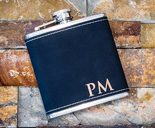 (Groomsmen Gift- Custom Engraved Black Leather Hip Flask, Personalized Flask- Rustic Customized Black Vegan Leather Wrapped #304 Steel 6 oz, Groomsman Whiskey Drinking Gifts For Men)