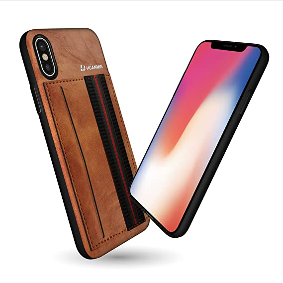 best loved ab148 b5337 Amazon.com: iPhone X Leather Case with Elastic Finger Hand Strap ...