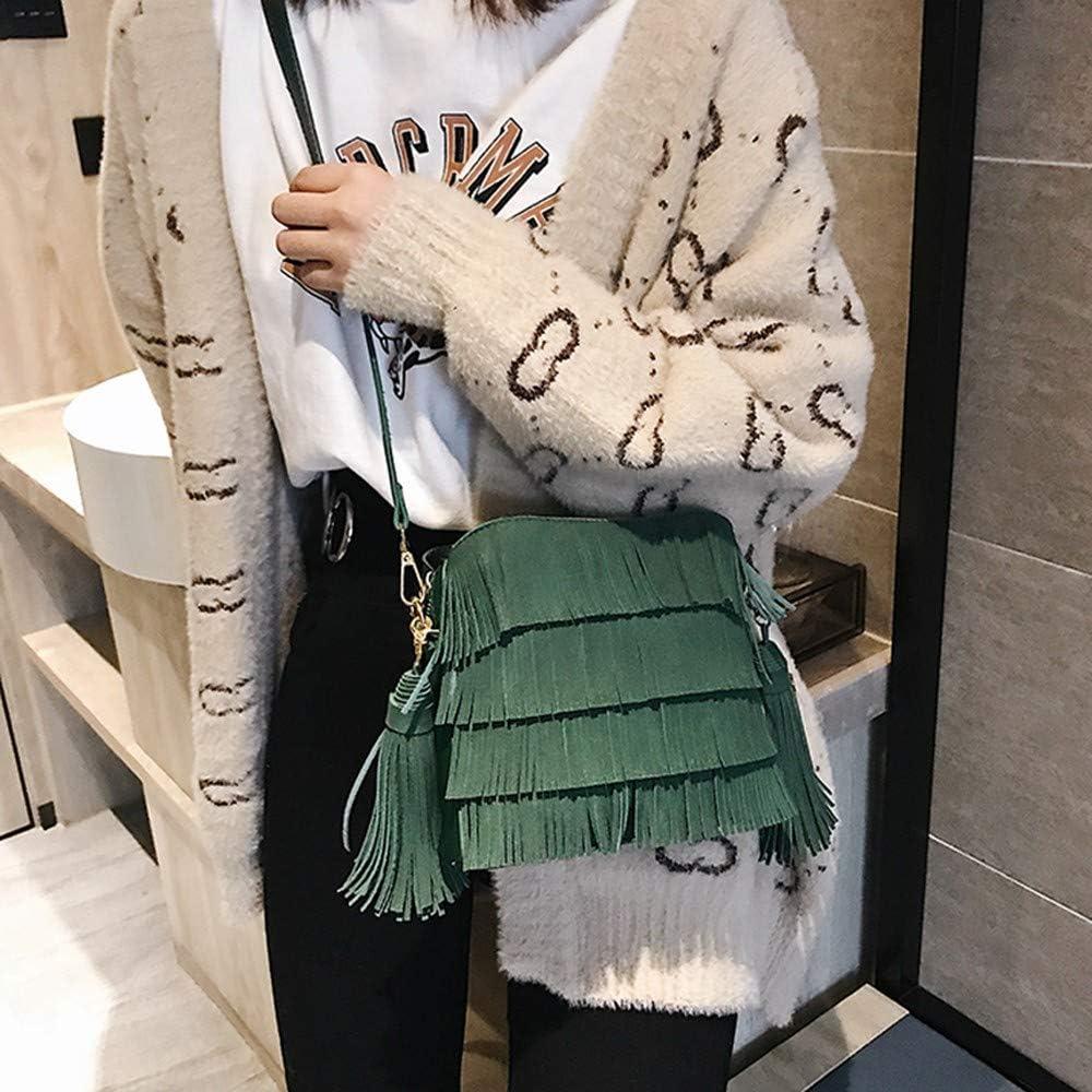 XLMLJYX Women Tassel Around Shoulder Bag Female Crossbody Bags Bucket Bag Handbags Designer Scrub Daily