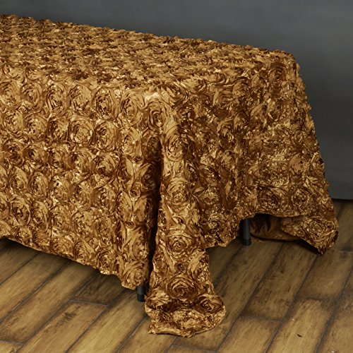 - BalsaCircle 90x156 Gold Satin Raised Rosettes Rectangle Tablecloth Wedding Party Dining Room Table Linens