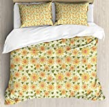 Sunflower Bedding Sets, Floral Nature Pattern in Patchwork Style Rustic Country Design, 4 Piece Duvet Cover Set Quilt Bedspread for Childrens/Kids/Teens/Adults, Yellow Orange Olive Green,Twin Size