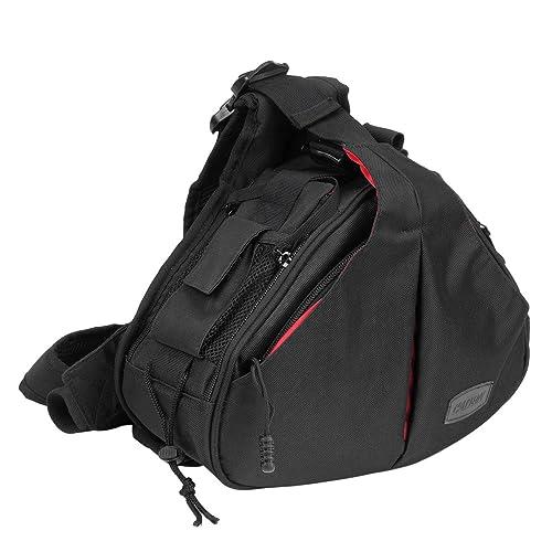 CADeN Compact Camera Bag Sling Shoulder Cross Bag Carry Messenger Bag Removable Padded Dividers for DSLR/SLR Sony Canon Nikon 1 Camera 2 Lens Tripod(Black)