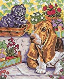 BASSET HOUND AND KITTEN NEEDLEPOINT CANVAS FROM COLLECTION D'ART #10.308