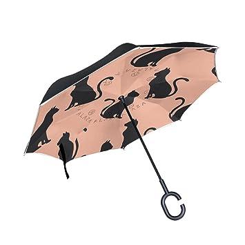 Mnsruu - Paraguas invertido de Doble Capa con diseño de Gatos Negros en Fondo Rosa,