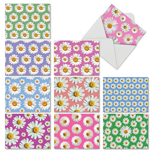 Assortment of Floral Note Cards with Envelopes, 10 'Daisy Crazy' Blank Greeting Cards (4'' x 5 ¼'') for Baby, Wedding, Thank You, Easter, Stationery Set #M6576OCB -
