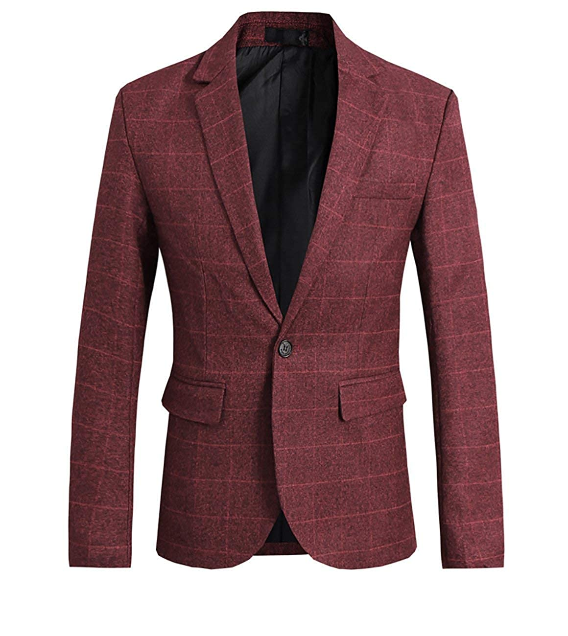 f2191306b8b Adelina Men's Suit Jacket Checked Slim Fit Blazer Blazer 1 Smoking Retro  Wedding Button Party Tuxedo Cocktail Elegant Suit Jacket Long Sleeve Party:  ...