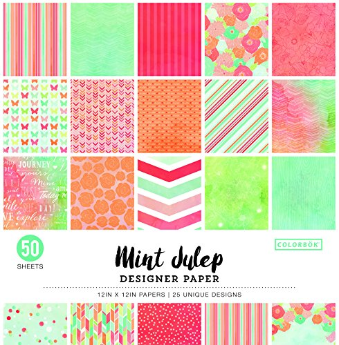 "ColorBok 73490A Designer Paper Pad Mint Julip, 12"" x 12"" by Colorbok"