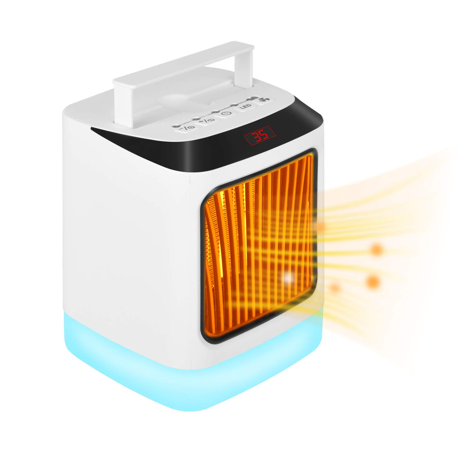 NovoLido Portable Space Heater for All Year Round Humidifier Included , 1000W 800W Desktop Electric Space Heater with 7 Colors Light, 3 Time Settings, Adjustable Thermostat, Safe Protection, White