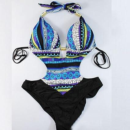 VJGOAL Moda Casual de Verano Sujetador Bikini Impreso Traje de baño Bohemia Atractivo Cuello Colgando Eslinga Traje de baño de una Sola Pieza: Amazon.es: Ropa y accesorios