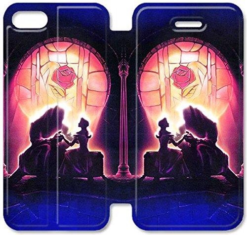 Flip étui en cuir PU Stand pour Coque iPhone 5 5S, bricolage 5 5S Cas de téléphone portable Disney Beauty And The Beast 9 Housse en cuir O5D8XS Effacer Coque iPhone Personnalisée