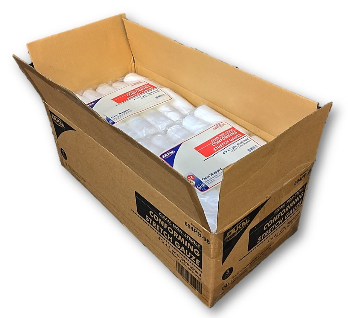 Case of Conforming Stretch Gauze, 96 Clean Wrapped Rolls, 4''x4.1yds By Dukal