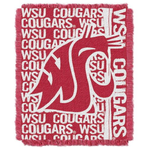 (The Northwest Company Officially Licensed NCAA Washington State Cougars Double Play Jacquard Throw Blanket, 48
