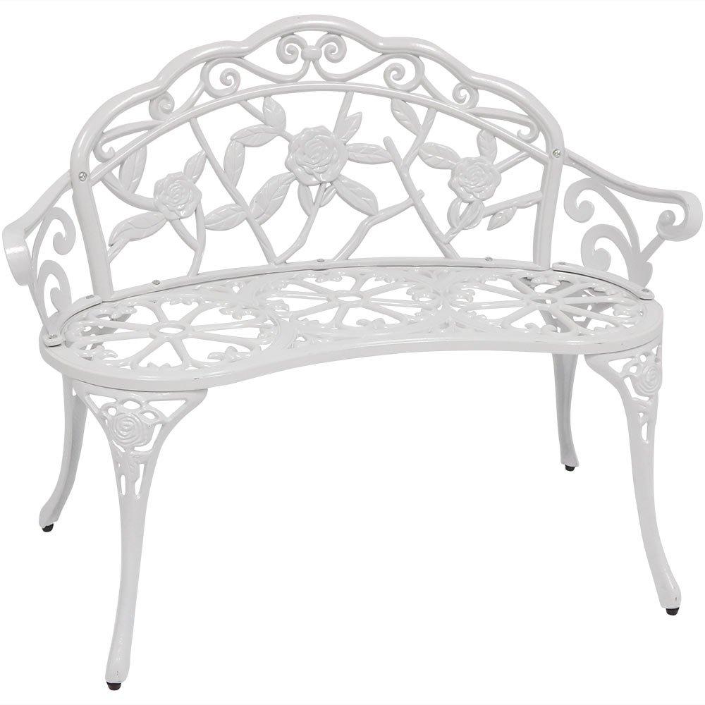 Sunjoy Rosier Cast Aluminum Verdi White Loveseat Bench