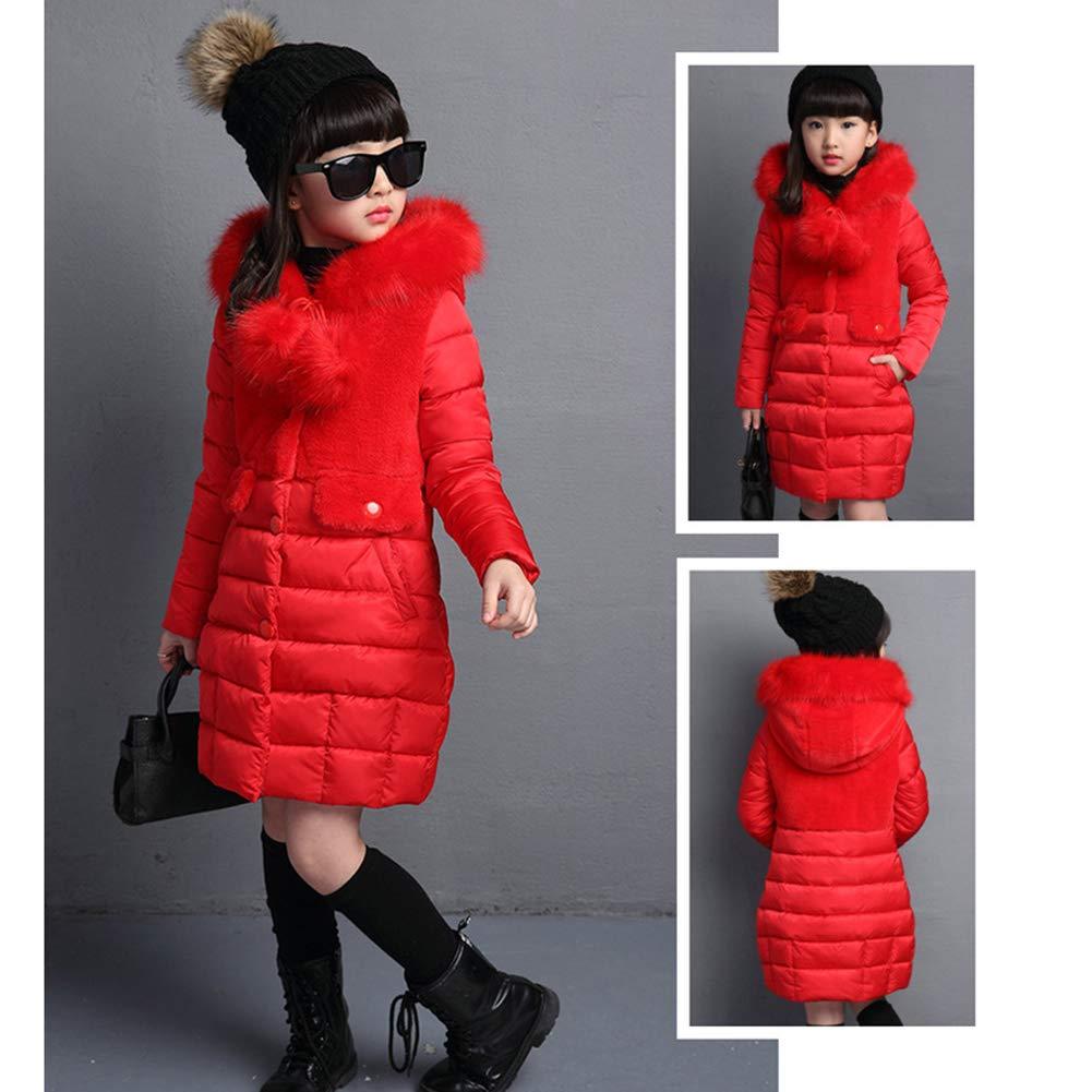 Goodkids Girls Winter Jacket Quilted Princess Long Warm Coat Thicken Outdoor Parka Fur Hood Children