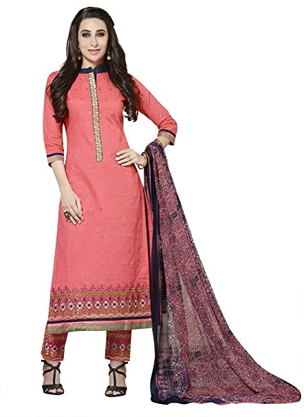 Rivafab Karishma Kapoor Pink Pure Cotton Cambric Straight Cut Dress  Material. Dress Material available at fd2802b06