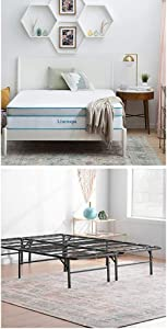 Linenspa 12 Inch Memory Foam and Innerspring Hybrid Mattress with Linenspa 14 Inch Folding Platform Bed Frame, Twin