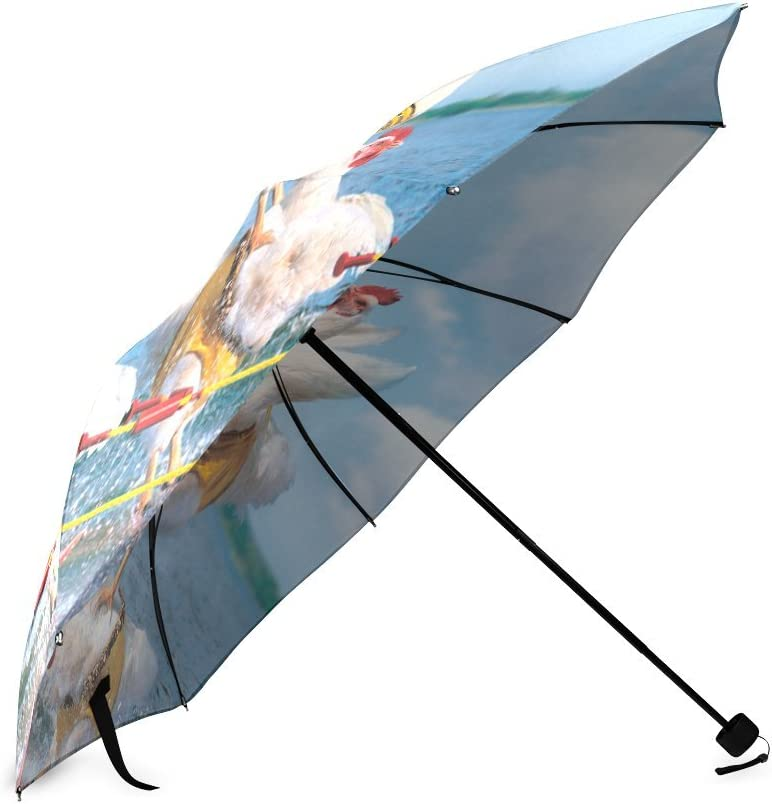 Custom Cute Funny Chicken Compact Travel Windproof Rainproof Foldable Umbrella