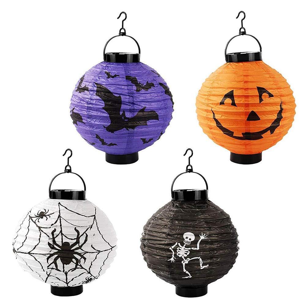 1088 Halloween Pumpkin Lantern Hanging Paper Pumpkin Lantern Light Halloween Holiday Party Decoration[4 Pack]