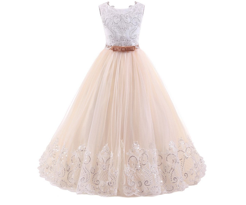 HAPPYMOOD Ragazza di Fiore Abiti Abito per Bambini per Il Matrimonio Lungo  Princess Design Bello Adorabile Vestito da Occasione di Comunione a750a8c20ce