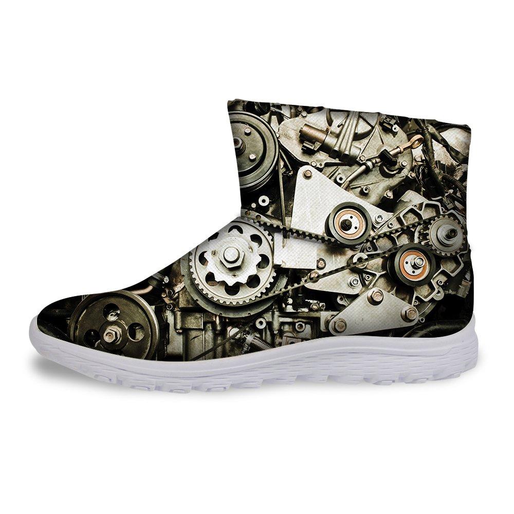 FOR U DESIGNS Gold Color Machine Print Mens Winter Short Boots Cozy Warm Shoes