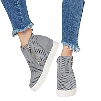 a62098ae846ce5 Image Unavailable. Image not available for. Color  softome Women s Wedge  Heel Suede High Top Sneakers Side Zipper ...