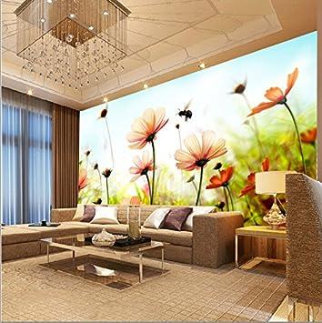 Fototapete Individuelle Gemälde Wohnzimmer Wallpaper Ideen Tapete Grün  Wallpaper 3D Wall Kunst Gemälde Von Bienen Blumen
