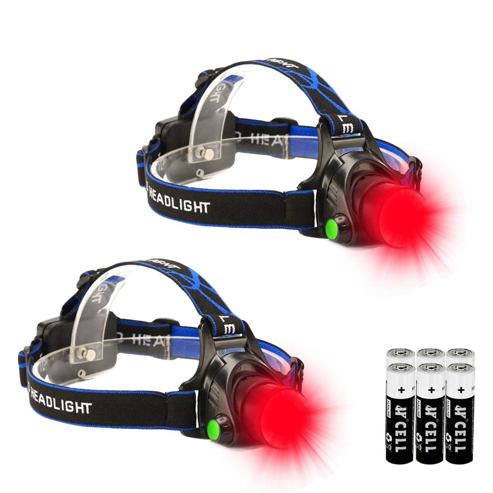 Red LED Headlamp, Zoomable Tactical High Lumen Headlamp Long Range Red Beam For Hog Coyote Varmint Hunting, 2 Pack by GaiGaiMall