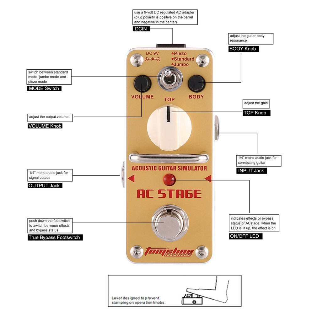 Qulable Aroma Aas 3 Ac Stage Acoustic Guitar Simulator Wiring A 1 4 Out Put Jack Electric Effect Pedal Musical Instruments