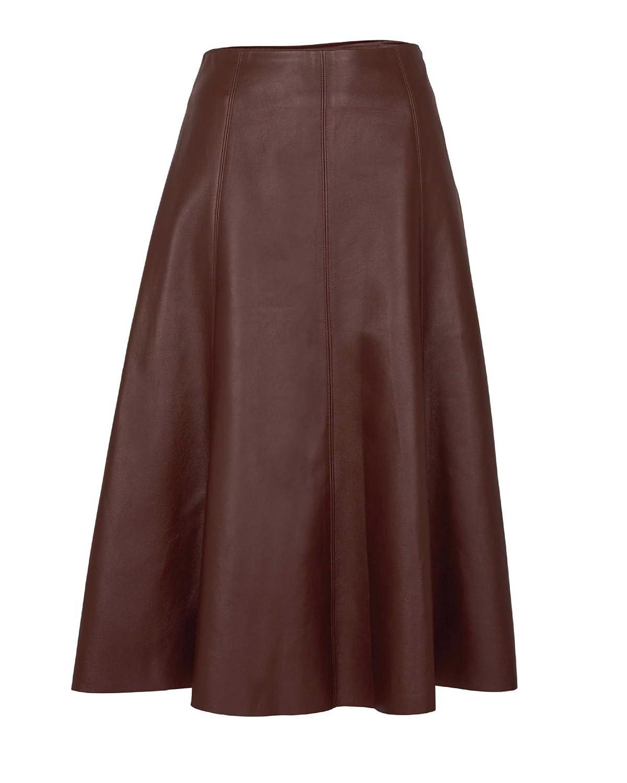 Artigiano Womens Ladies Italian Leather Panelled Skirt A Line Paneled Side Zip