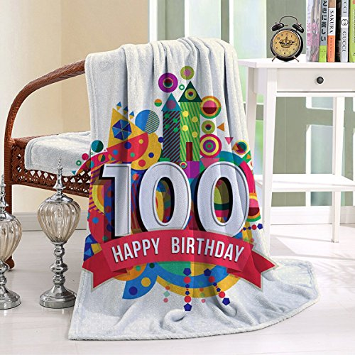 HAIXIA Blanket 100th Birthday Geometrical Digital with Shapes Castle Boat Birthday Party Multicolor