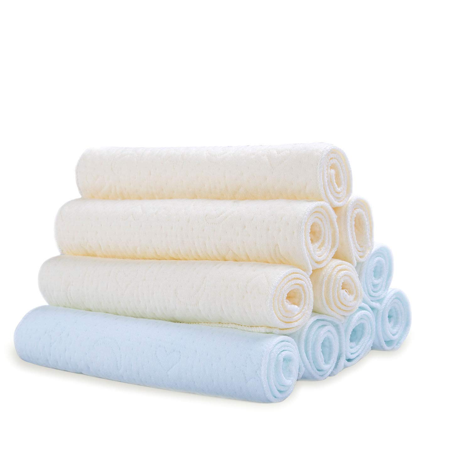 Cotton Baby Washcloths 10 Pack, Reusable Baby Wipes, Extra Soft Face/Shower Towels for Sensitive Skin Makimoo