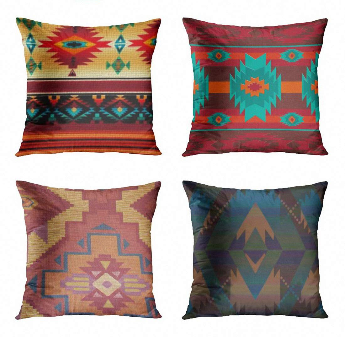 ArtSocket Set of 4 Throw Pillow Covers Southwestern Aztec Navajo Tribal Pattern Native Traditional Mexican Stripes Southwest Indian Decorative Pillow Cases Home Decor Square 18x18 Inches Pillowcases