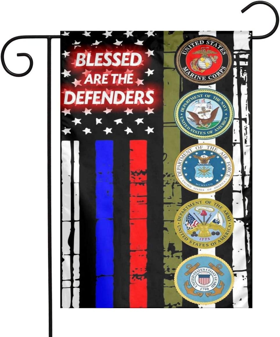 Thin Blue Line Red Drab Horizontal Flag Blessed are The Defenders Military Garden Flag 12''X18 Family Decorative Xmas Welcome Banner Outside Yard Mailbox Festival Colours Ornaments House Decoration
