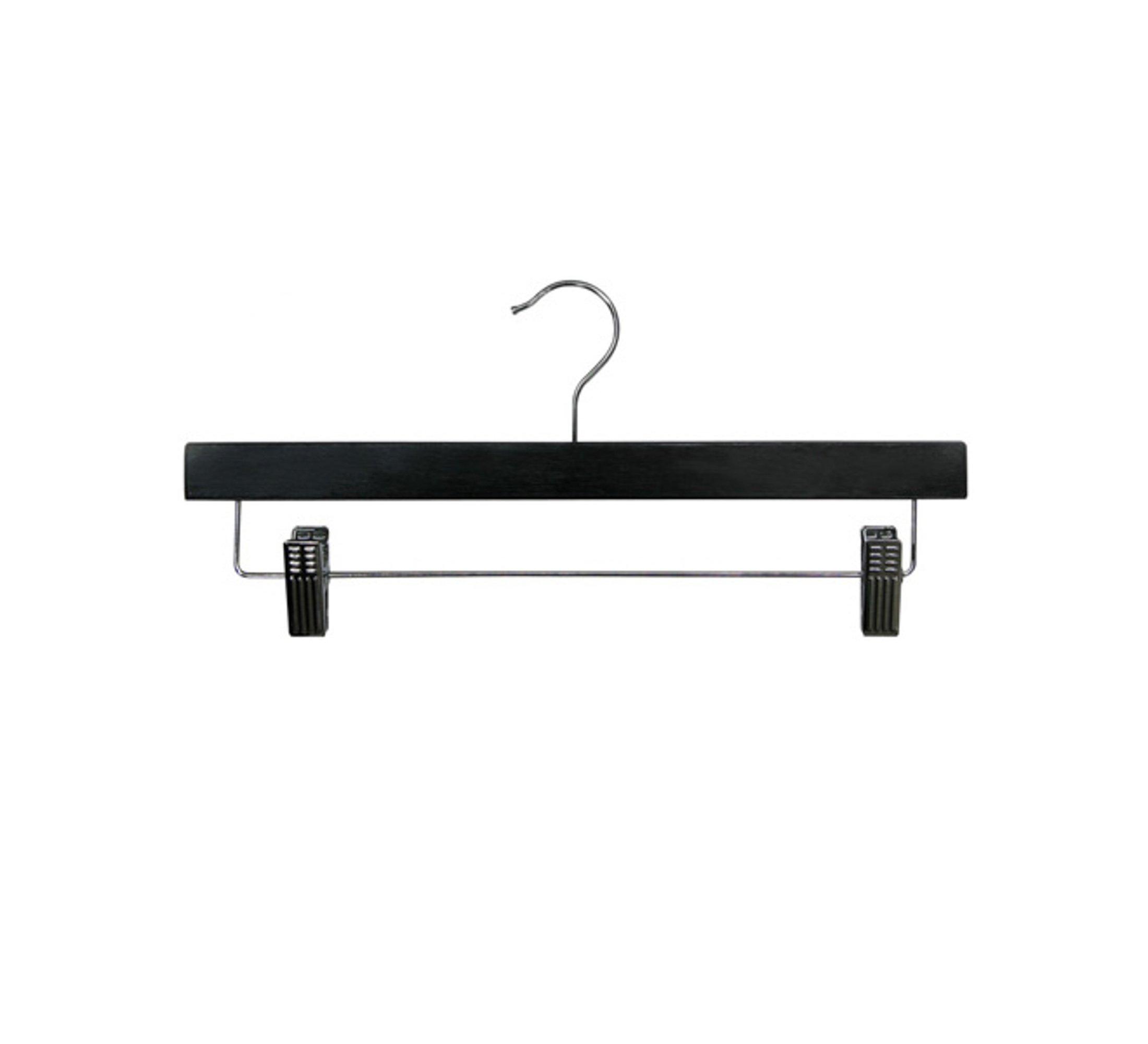 Newtech Display HWB-14/BLK Pants/Skirt Wood Hanger, Black (Pack of 100)
