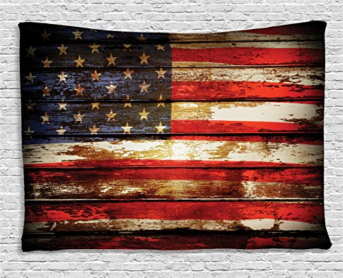 Ambesonne American Flag Tapestry, Us Symbolism Over Old Rusty Tones Weathered Vintage Social Plank Artwork, Wall Hanging for Bedroom Living Room Dorm, 60 W X 40 L Inches, Red -
