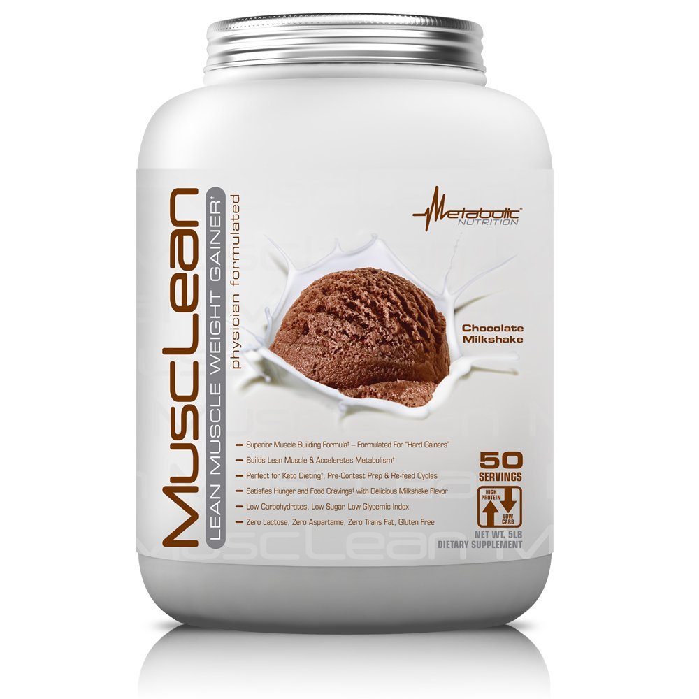 Metabolic Nutrition, Musclean, Whey Protein Meal Replacement, Weight Gainer, High Protein, Low Carb, High Fat, Keto Diet, Digestive Enzymes, 24 Vitamins and Minerals, Chocolate, 5 pound (50 ser)