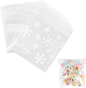 500 Pieces Self Adhesive Cookie Bags Christmas snowflake Party Favor Treat Bags Candy Gift bag(3.9 x3.9 Inches)
