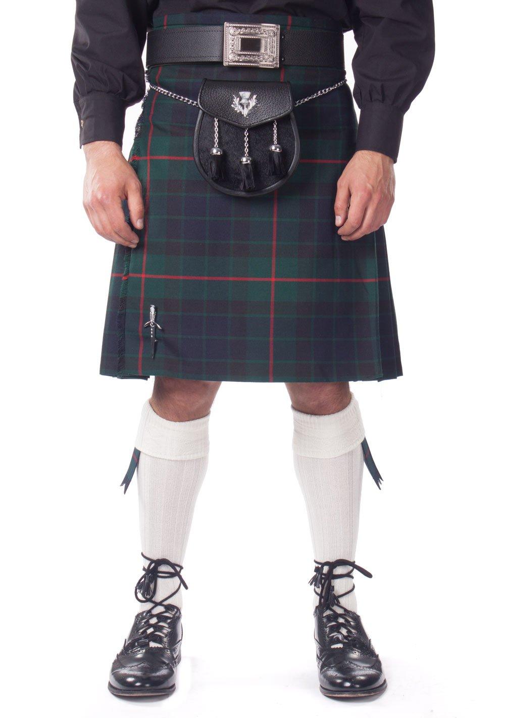 Kilt Society Mens 7 Piece Semi Dress Kilt Outfit- Gunn Tartan with White Hose 30'' to 34''