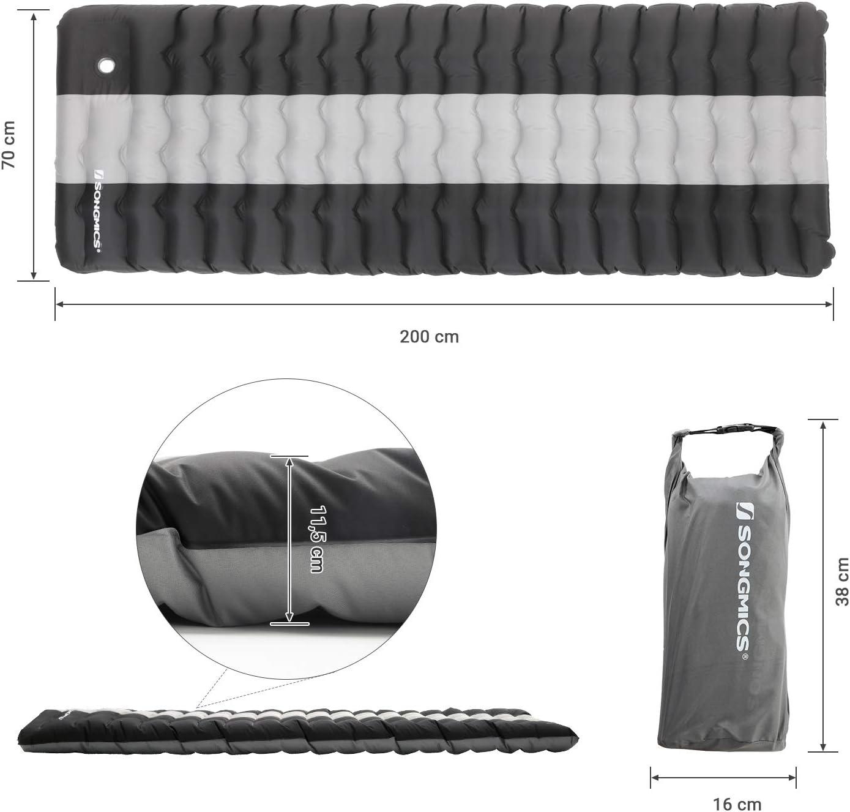 200 x 70 x 11,5 cm Tapis de Couchage SONGMICS Matelas Gonflable de Camping pour Tente Randonn/ée Camping L/éger et Portable Tapis de Sol Gonflable Pompe int/égr/ée