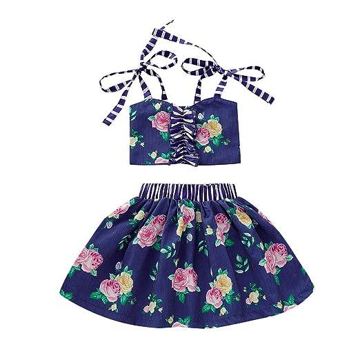 d361d903d6 Amazon.com: Clothful 💓 Infant Baby Girl Kid Floral Striped Vest Tops T  Shirt+Tutu Skirt Outfits Set: Clothing
