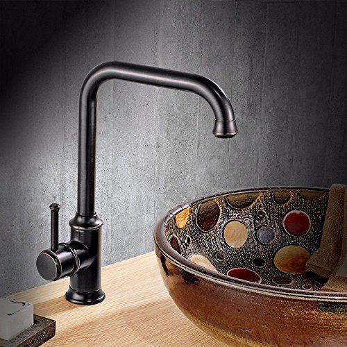 Lalaky Taps Faucet Kitchen Mixer Sink Waterfall Bathroom Mixer Basin Mixer Tap for Kitchen Bathroom and Washroom Black Copper Hot and Cold Antique Trough