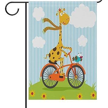 Desing shop Giraffe Bird Riding On Bicycle Garden Flag ...