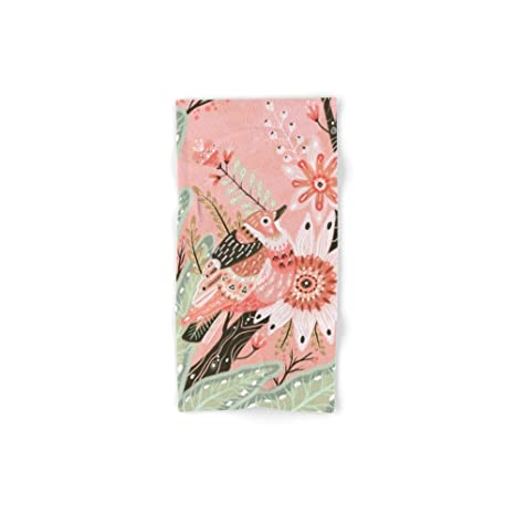 Society6 poco color rosa pájaros toalla de baño, multicolor, de mano