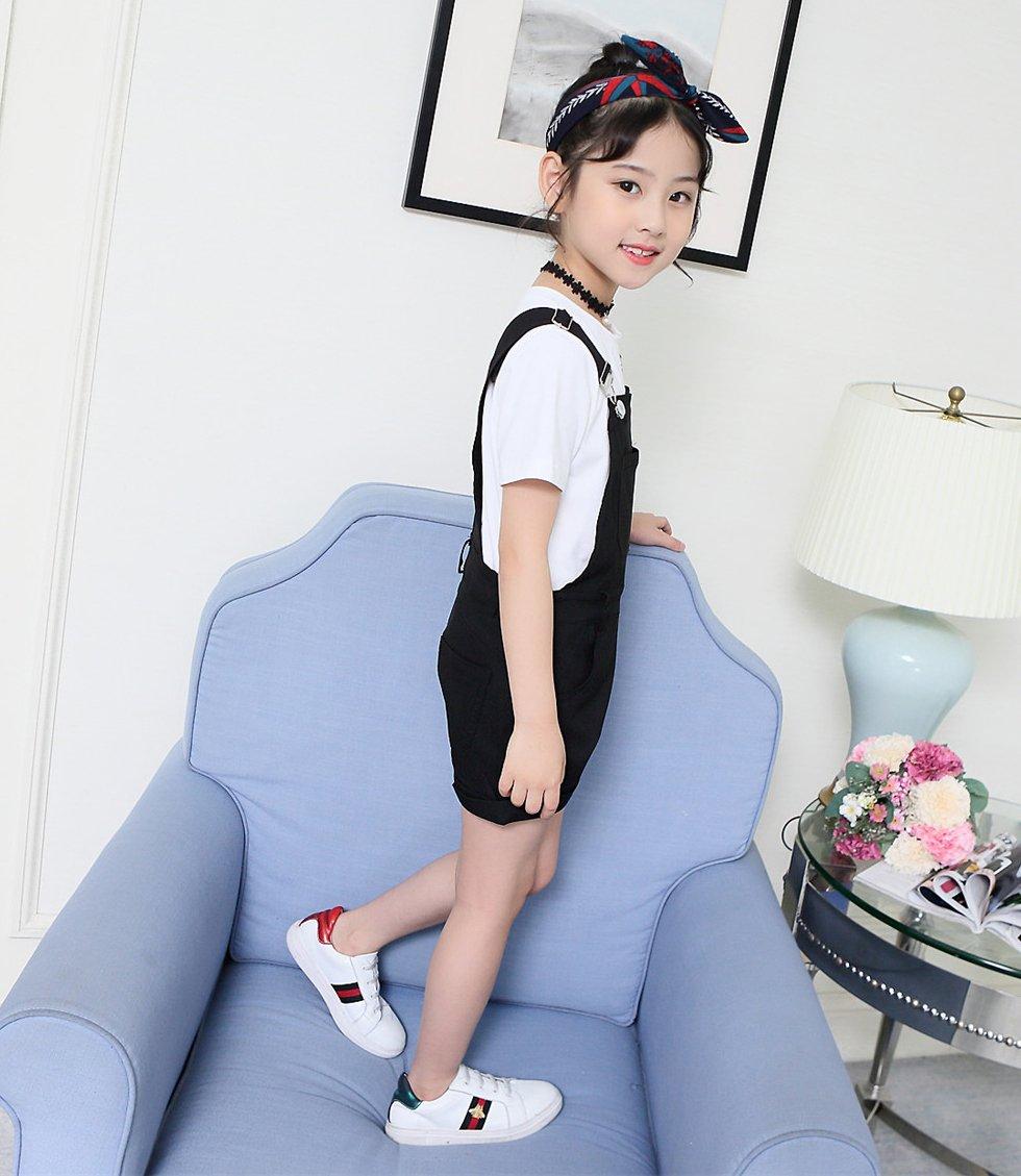 Sitmptol Big Girls Kids Cotton Overalls Jumpsuits Casual Shortalls Bib Romper Black 160 by Sitmptol (Image #4)