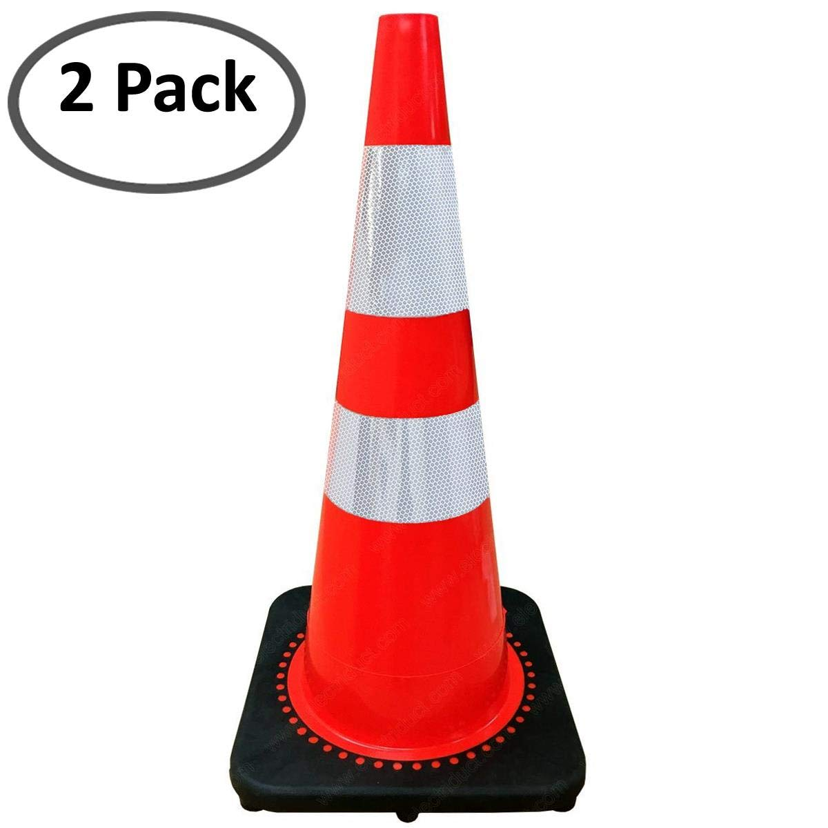 28'' Traffic Cone with Reflective Collar - Bright Orange/Black Base - 2 Pack by Electriduct
