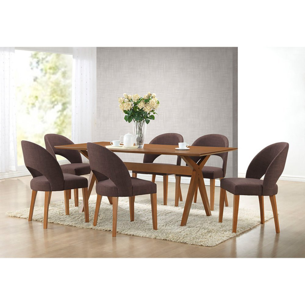 Admirable Baxton Studio Lucas 7 Piece Rectangular Dining Table Set Gmtry Best Dining Table And Chair Ideas Images Gmtryco