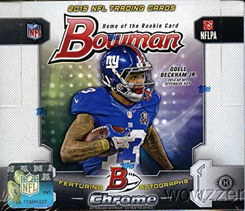 Bowman 2015 NFL Football MASSIVE Factory Sealed HOBBY Box with FIVE(5) AUTOGRAPH/RELIC Cards and 250 Cards! Look for RC's & Autographs of Jameis Winston, Marcus Mariota and all Top 2015 -