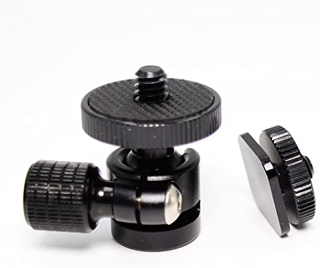 Camera and Camcorder Monitor Shoe Mount Adapter Swivel with 1//4 male stud and 1//4 female thread for LED Video Lights
